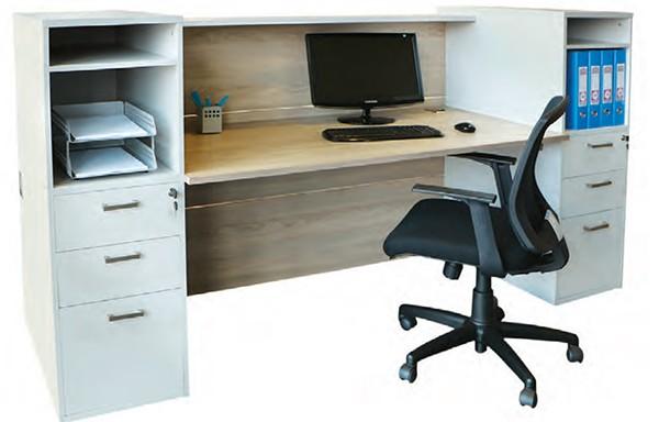 Salon Straight Reception Unit Plus Two Storage Units