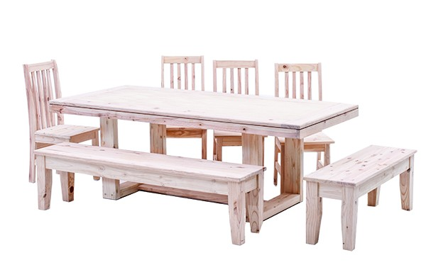 New Yorker Table with 4 Eton Chairs and 1800 Bench and 1200 Bench