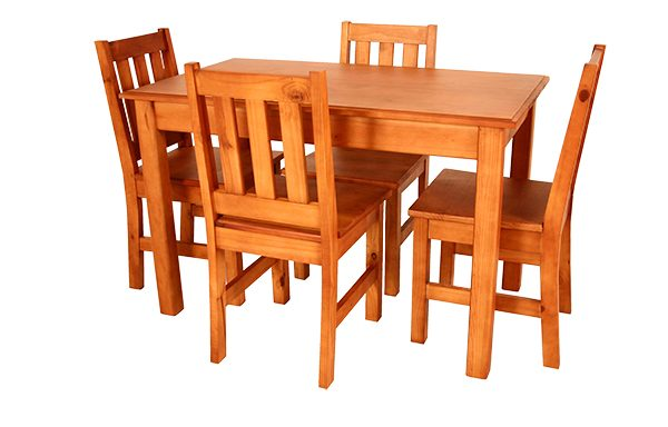 Kitchen Set square leg 1200 x 700 & 4 Eben chairs