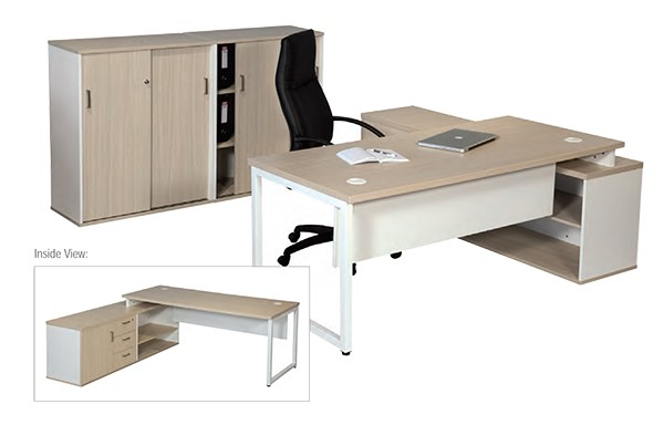 Titan Executive Desk with Sliding Door Cabinet